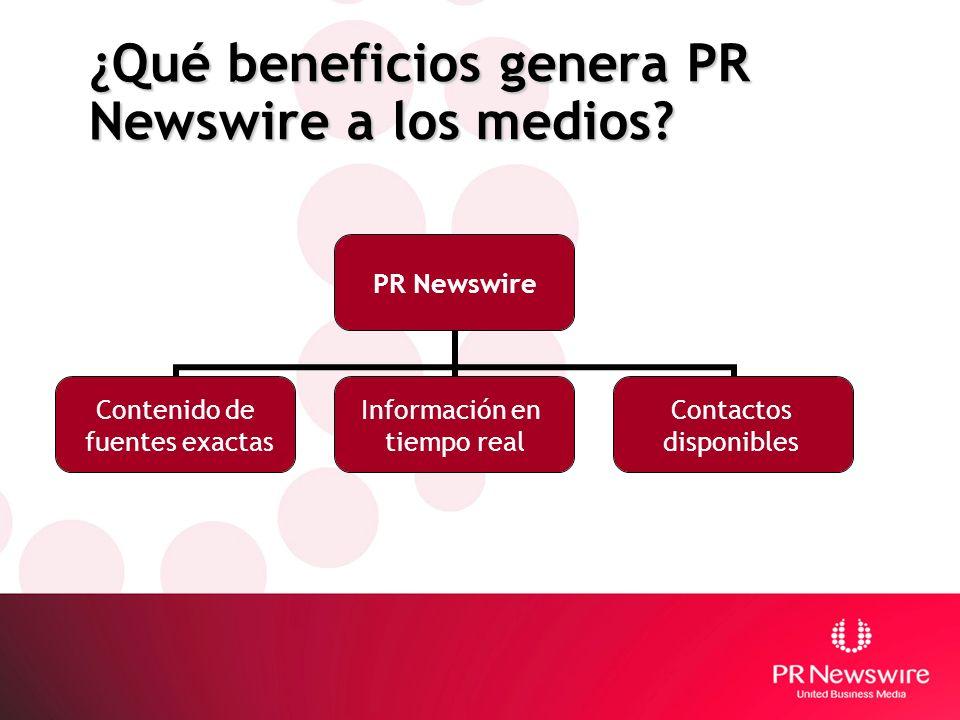¿Qué beneficios genera PR Newswire a los medios