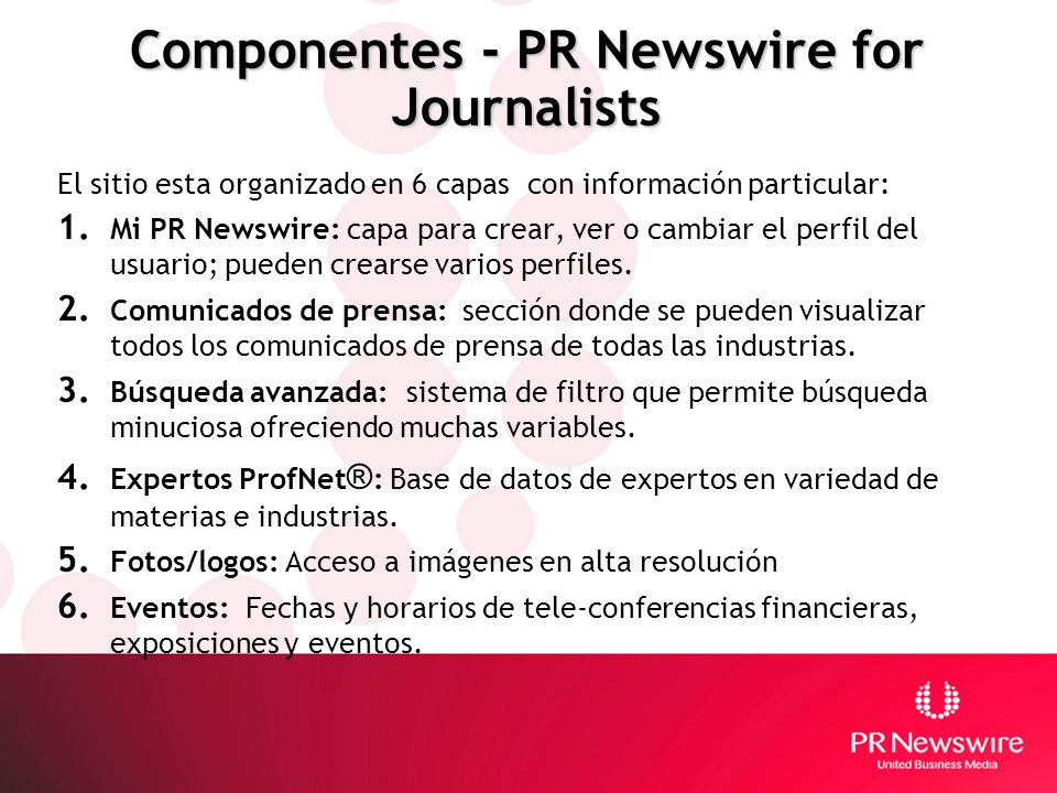 Componentes - PR Newswire for Journalists