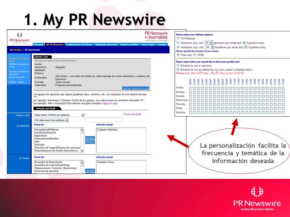 1. My PR Newswire La personalización facilita la frecuencia y temática de la información deseada
