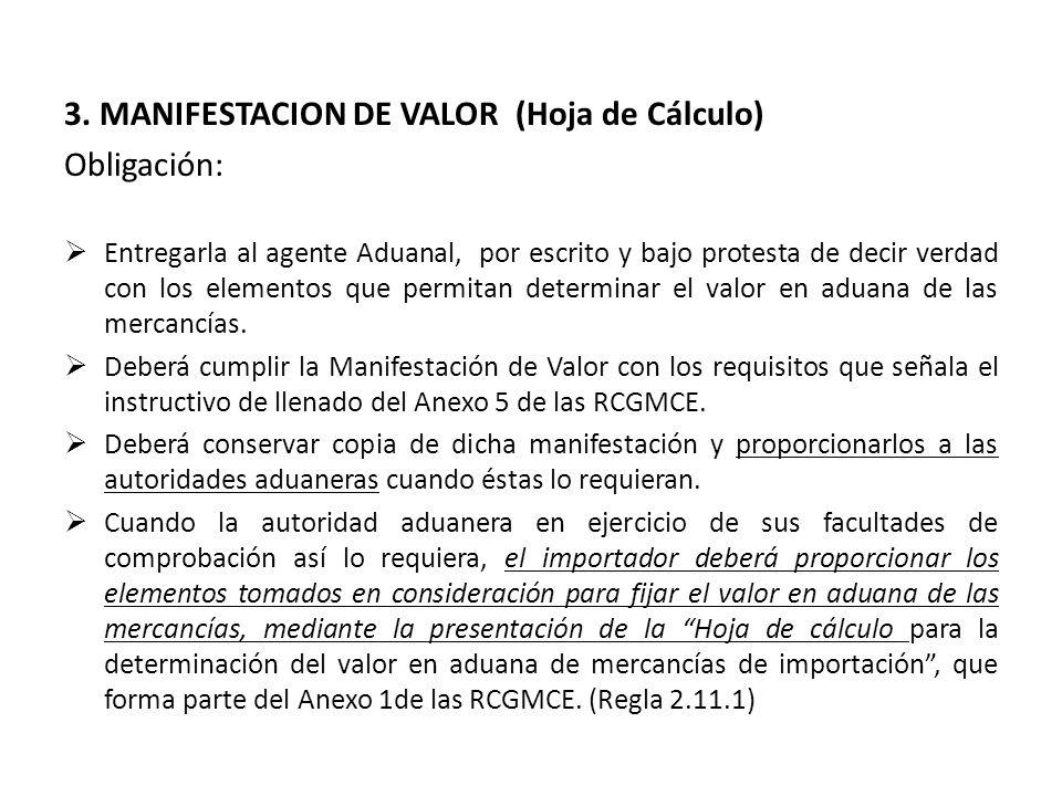 3. MANIFESTACION DE VALOR (Hoja de Cálculo) Obligación: