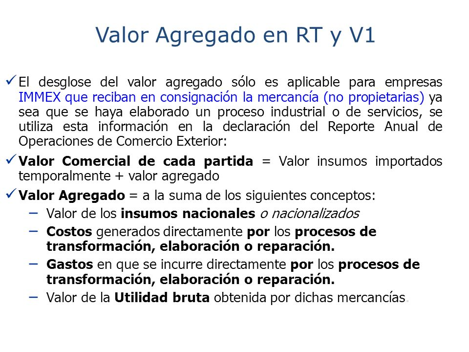 Valor Agregado en RT y V1