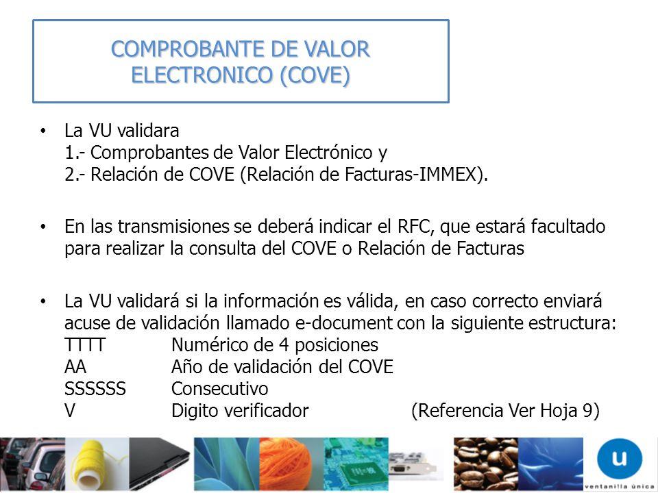 COMPROBANTE DE VALOR ELECTRONICO (COVE)