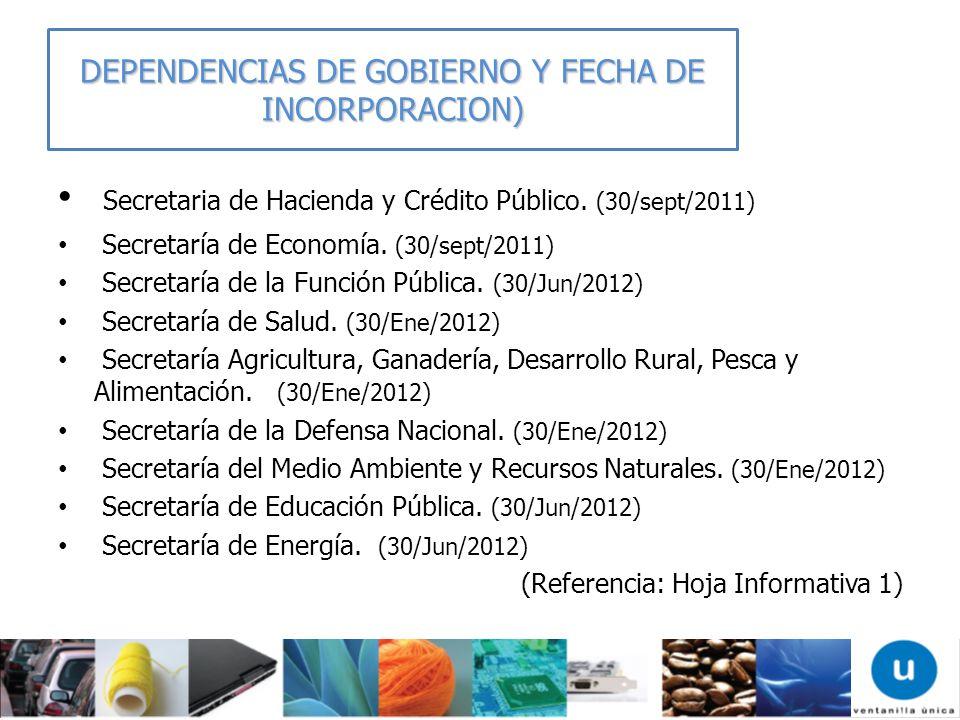 DEPENDENCIAS DE GOBIERNO Y FECHA DE INCORPORACION)