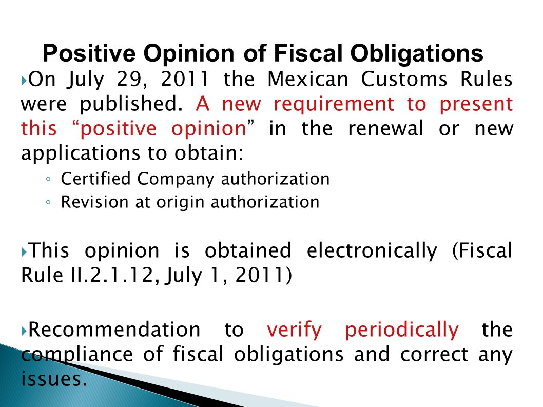 Positive Opinion of Fiscal Obligations