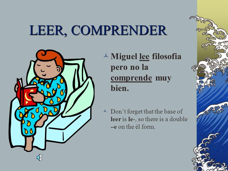 LEER, COMPRENDER Miguel lee filosofia pero no la comprende muy bien.
