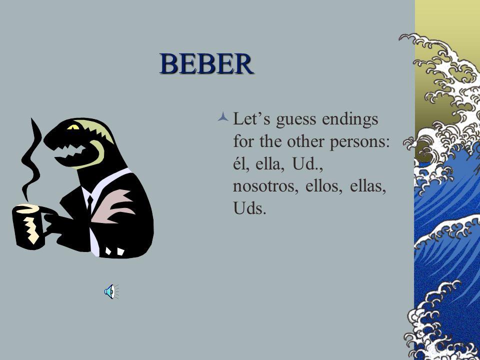 BEBER Let's guess endings for the other persons: él, ella, Ud., nosotros, ellos, ellas, Uds.