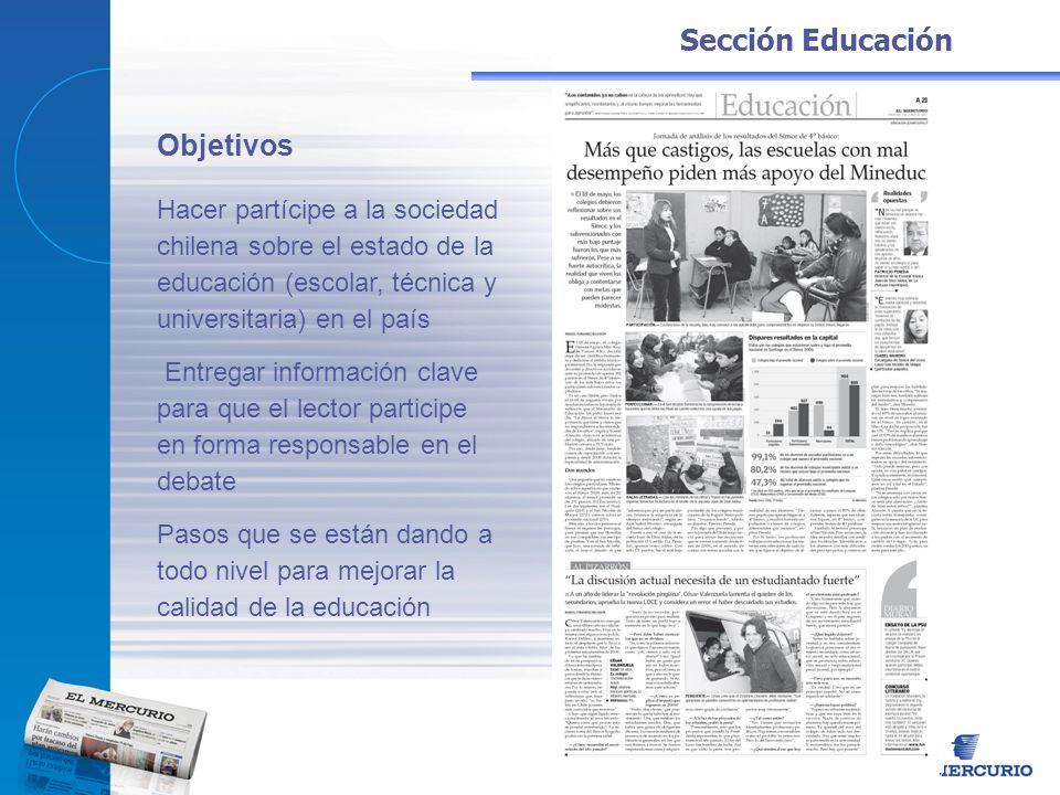 Sección Educación Objetivos