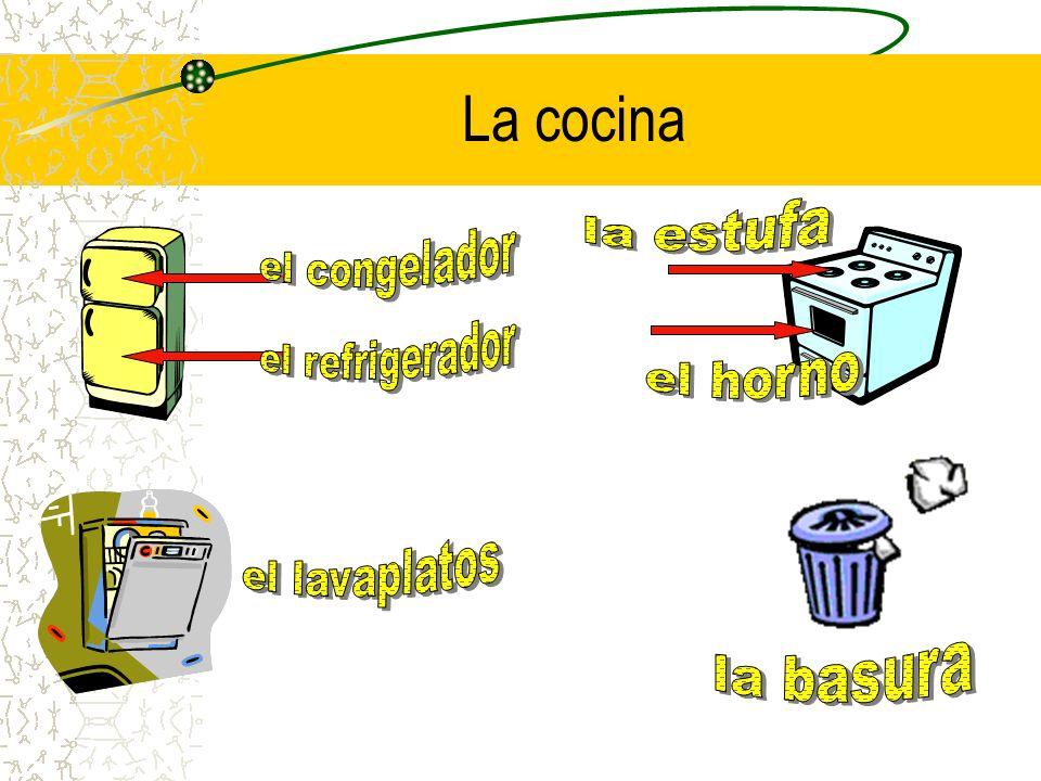 La cocina la estufa el congelador el refrigerador el horno