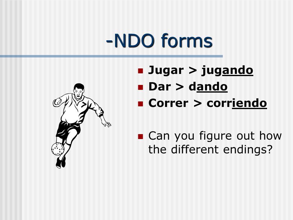 -NDO forms Jugar > jugando Dar > dando Correr > corriendo