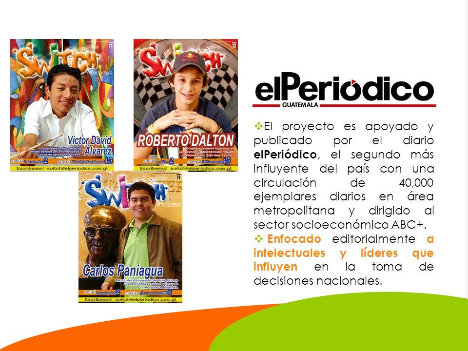 El proyecto es apoyado y publicado por el diario elPeriódico, el segundo más influyente del país con una circulación de 40,000 ejemplares diarios en área metropolitana y dirigido al sector socioeconómico ABC+.