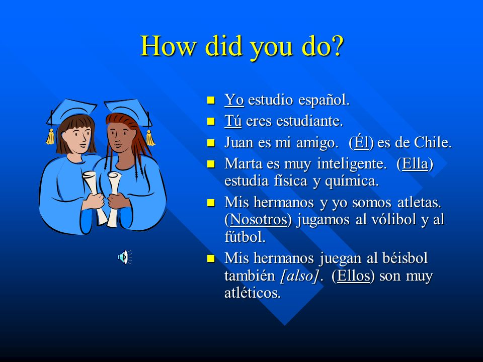 How did you do Yo estudio español. Tú eres estudiante.