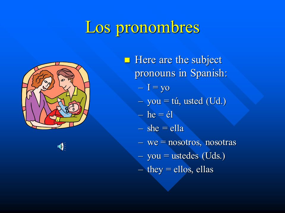 Los pronombres Here are the subject pronouns in Spanish: I = yo