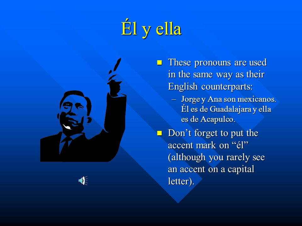 Él y ella These pronouns are used in the same way as their English counterparts: