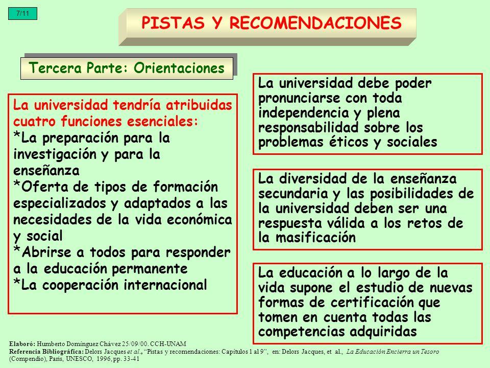 PISTAS Y RECOMENDACIONES Tercera Parte: Orientaciones