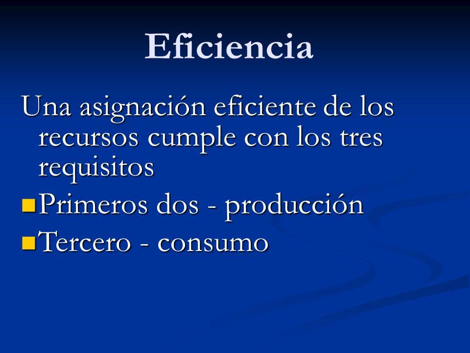 Eficiencia Una asignación eficiente de los recursos cumple con los tres requisitos. Primeros dos - producción.