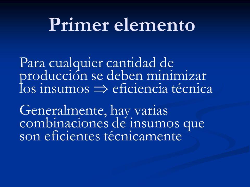Primer elementoPara cualquier cantidad de producción se deben minimizar los insumos  eficiencia técnica.