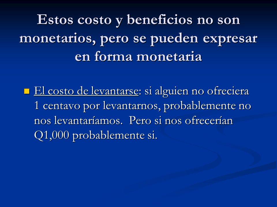Estos costo y beneficios no son monetarios, pero se pueden expresar en forma monetaria
