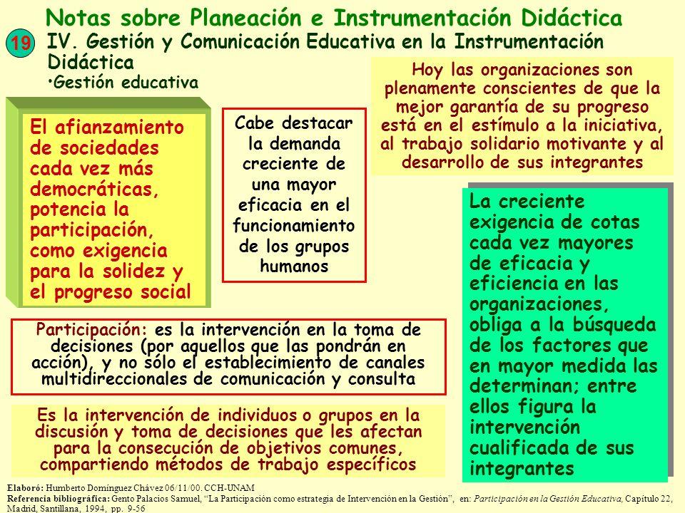 Notas sobre Planeación e Instrumentación Didáctica
