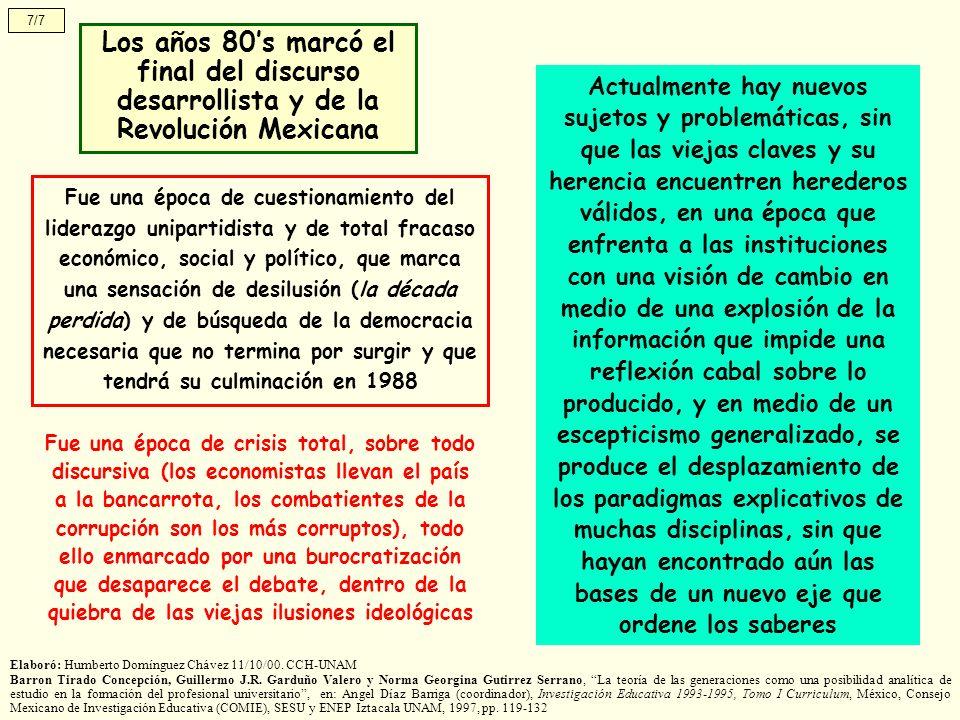 7/7 Los años 80's marcó el final del discurso desarrollista y de la Revolución Mexicana.
