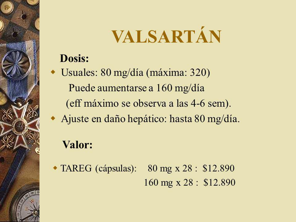 VALSARTÁN Dosis: Valor: Usuales: 80 mg/día (máxima: 320)