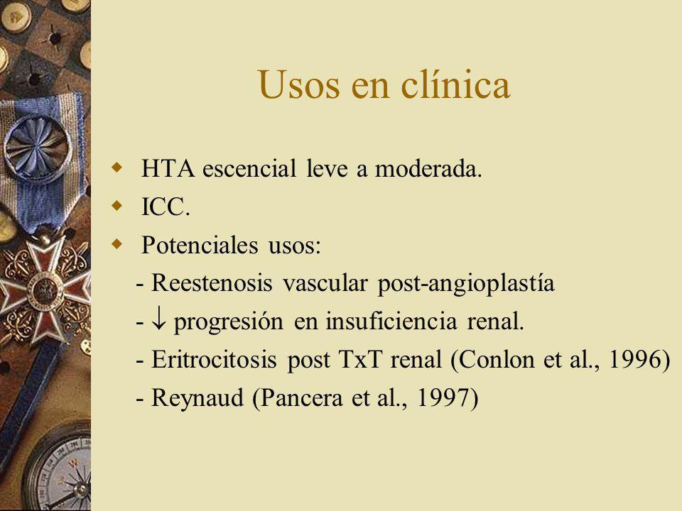 Usos en clínica HTA escencial leve a moderada. ICC. Potenciales usos: