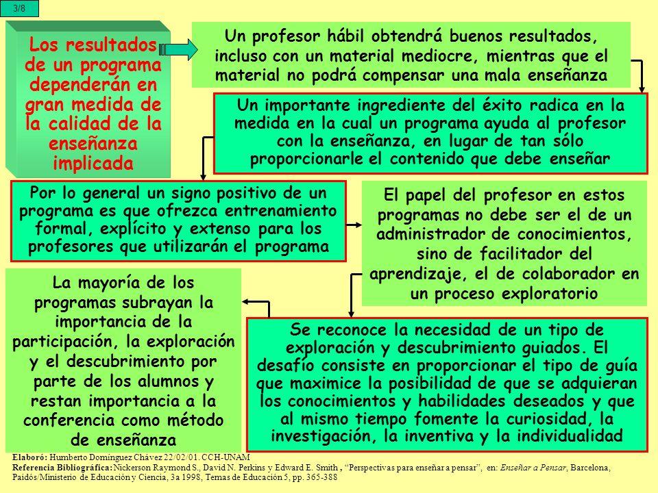 3/8 Un profesor hábil obtendrá buenos resultados, incluso con un material mediocre, mientras que el material no podrá compensar una mala enseñanza.