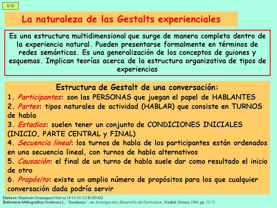 La naturaleza de las Gestalts experienciales