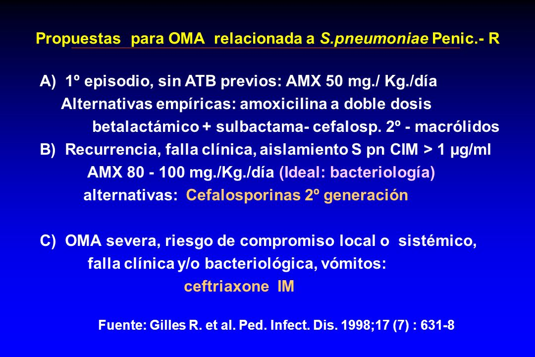 Propuestas para OMA relacionada a S.pneumoniae Penic.- R