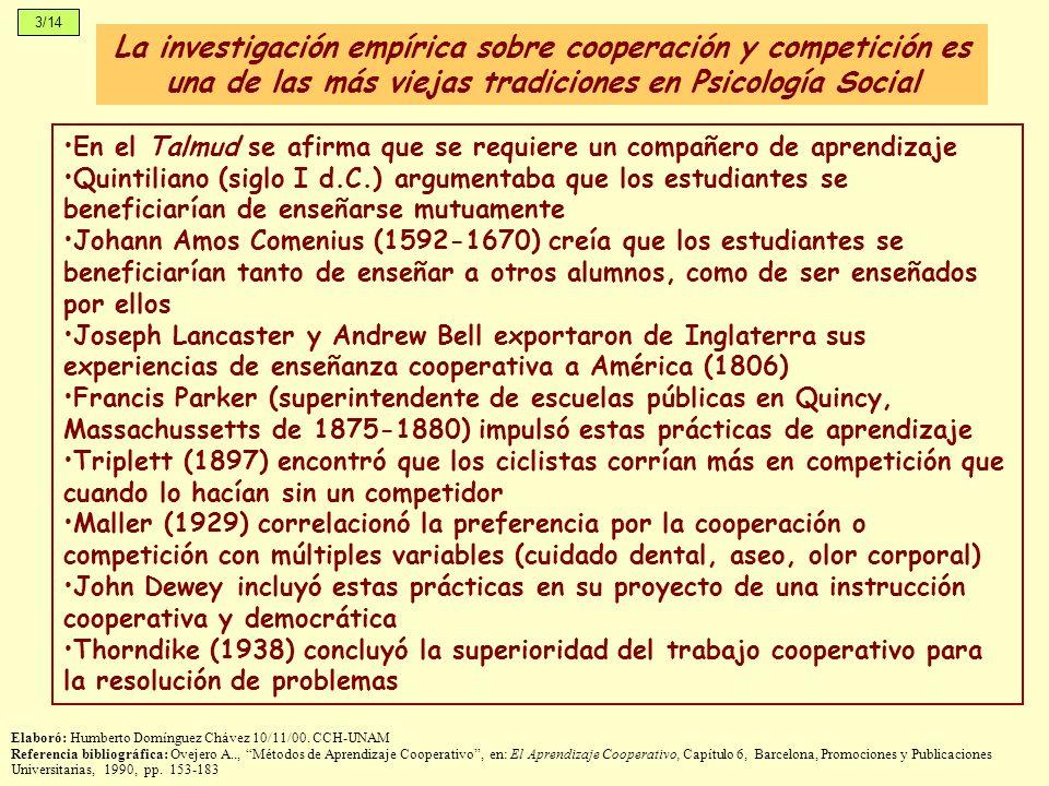 3/14La investigación empírica sobre cooperación y competición es una de las más viejas tradiciones en Psicología Social.