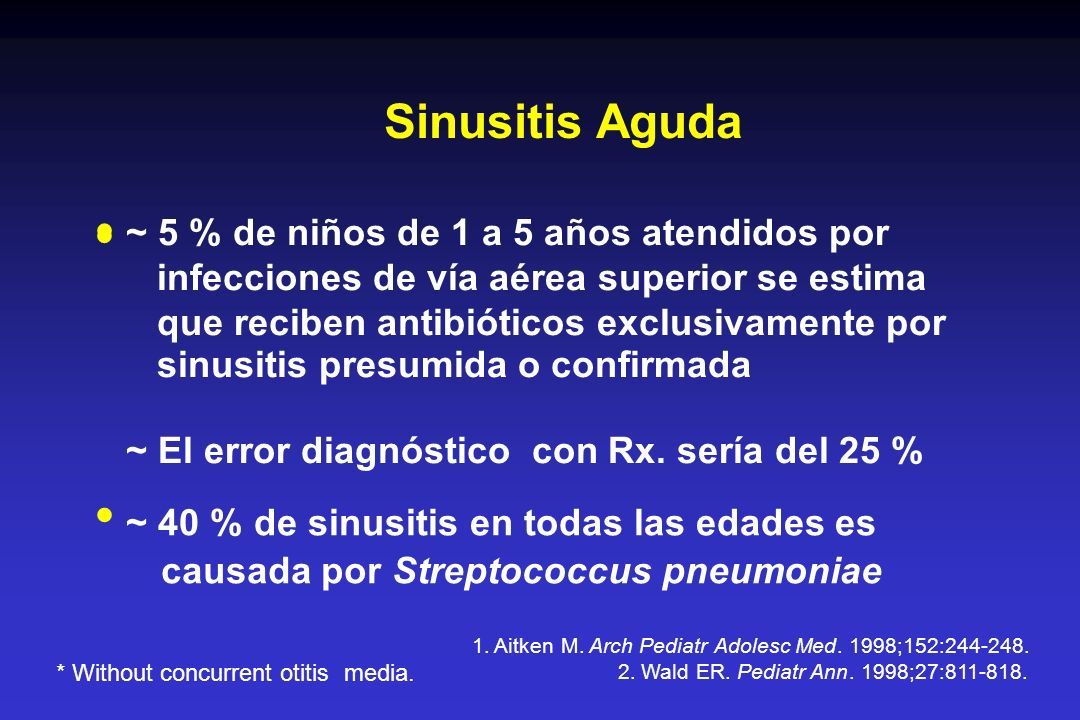 Sinusitis Aguda · · · ~ 5 % de niños de 1 a 5 años atendidos por
