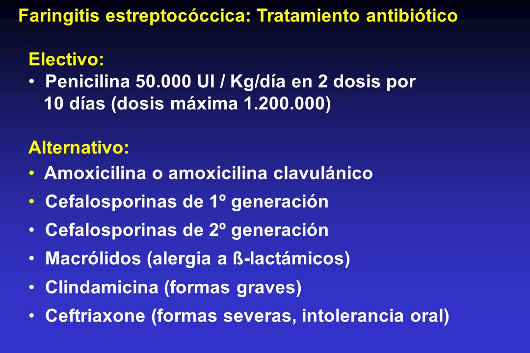 Faringitis estreptocóccica: Tratamiento antibiótico