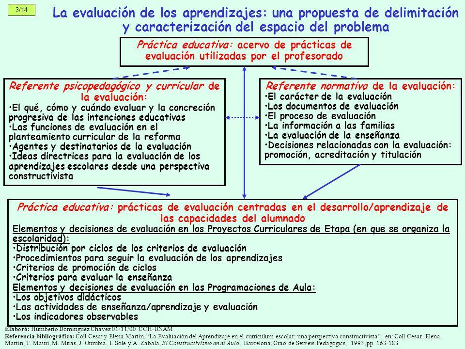 3/14 La evaluación de los aprendizajes: una propuesta de delimitación y caracterización del espacio del problema.