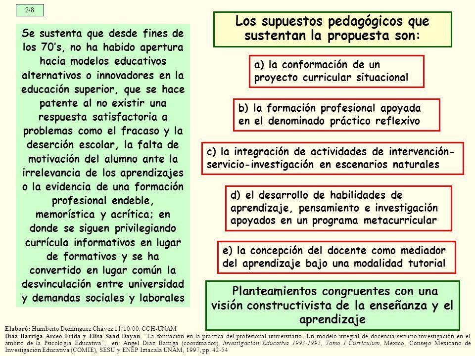 Los supuestos pedagógicos que sustentan la propuesta son: