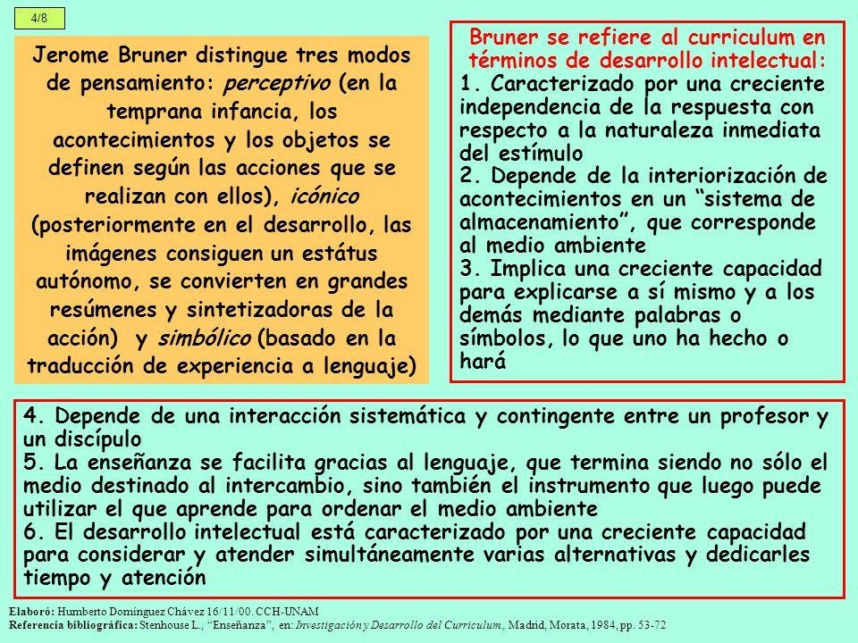 Bruner se refiere al curriculum en términos de desarrollo intelectual: