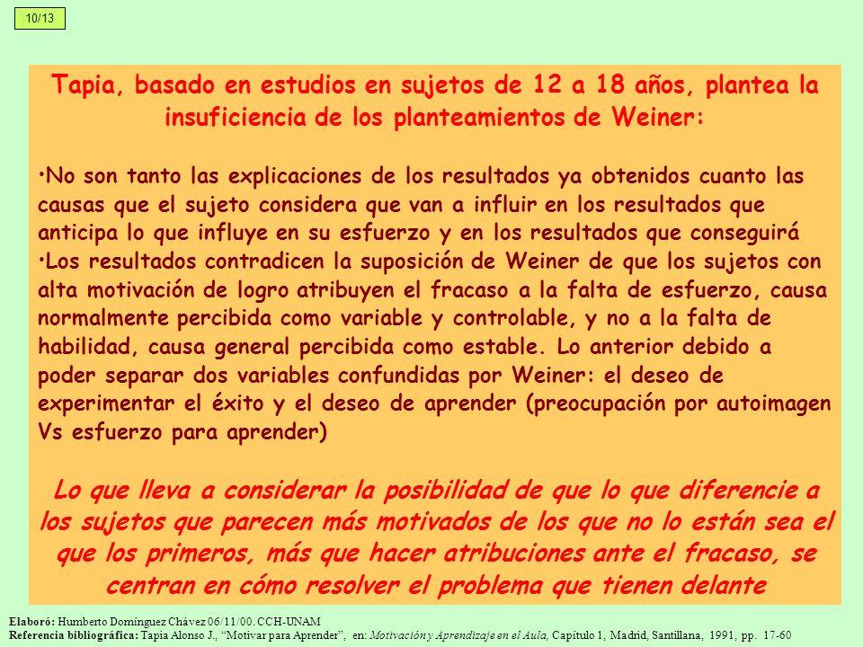 10/13 Tapia, basado en estudios en sujetos de 12 a 18 años, plantea la insuficiencia de los planteamientos de Weiner: