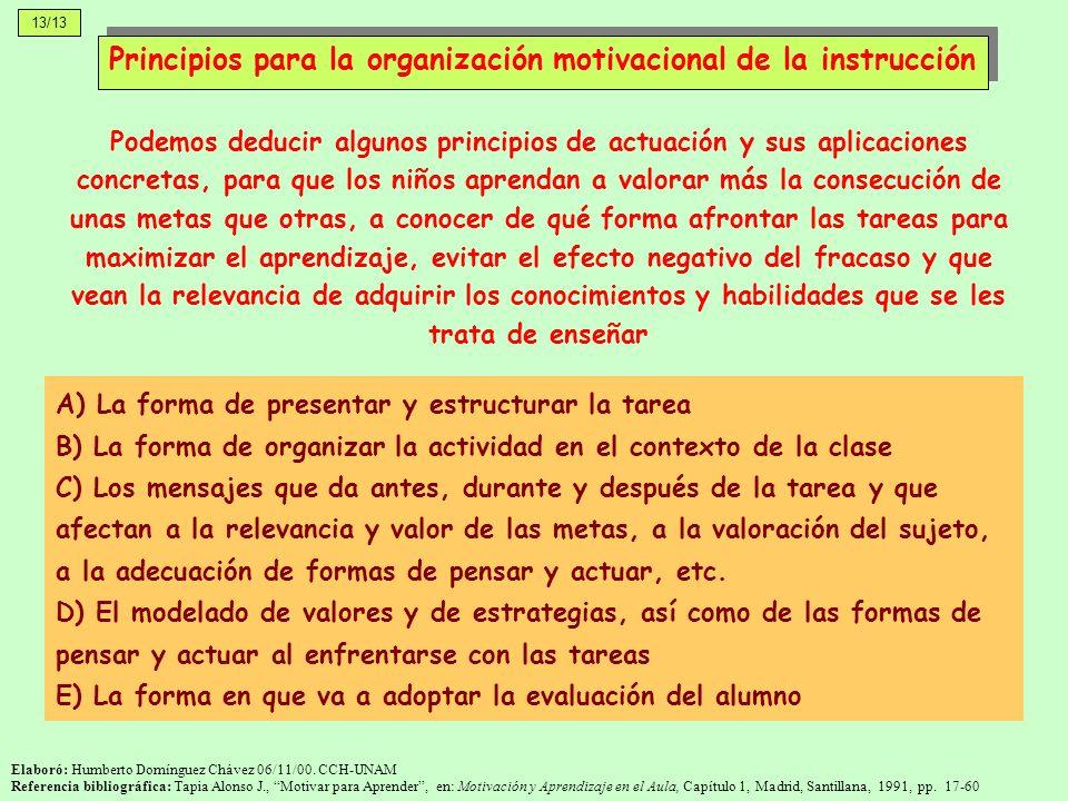Principios para la organización motivacional de la instrucción
