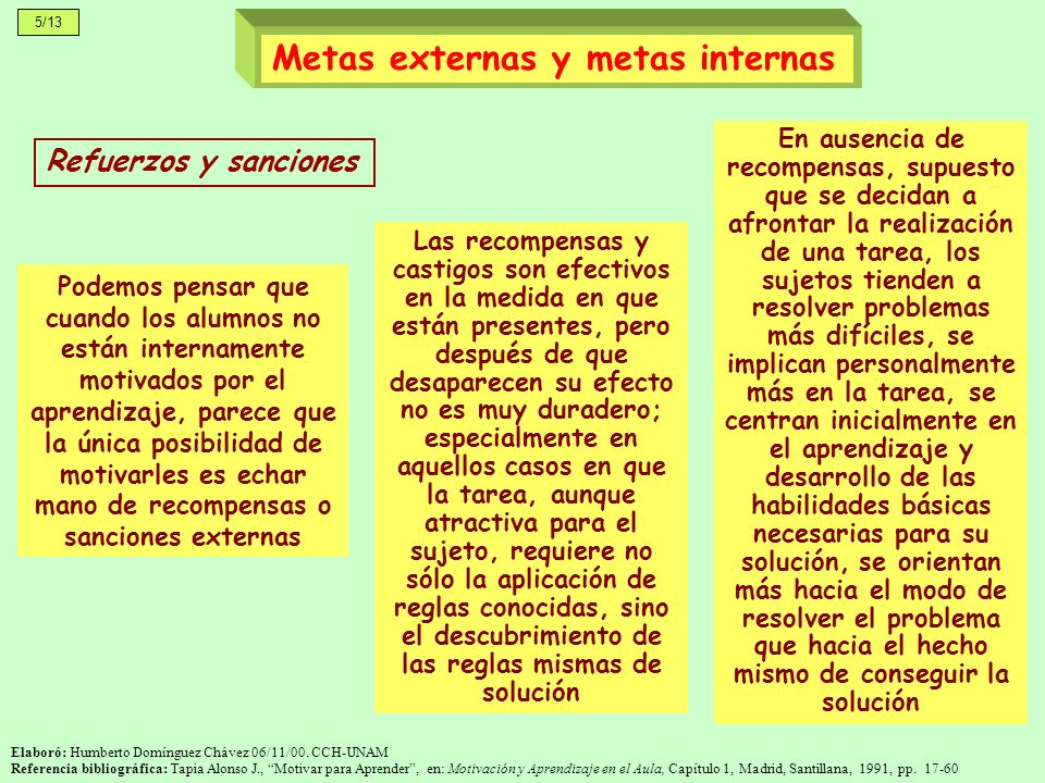 Metas externas y metas internas
