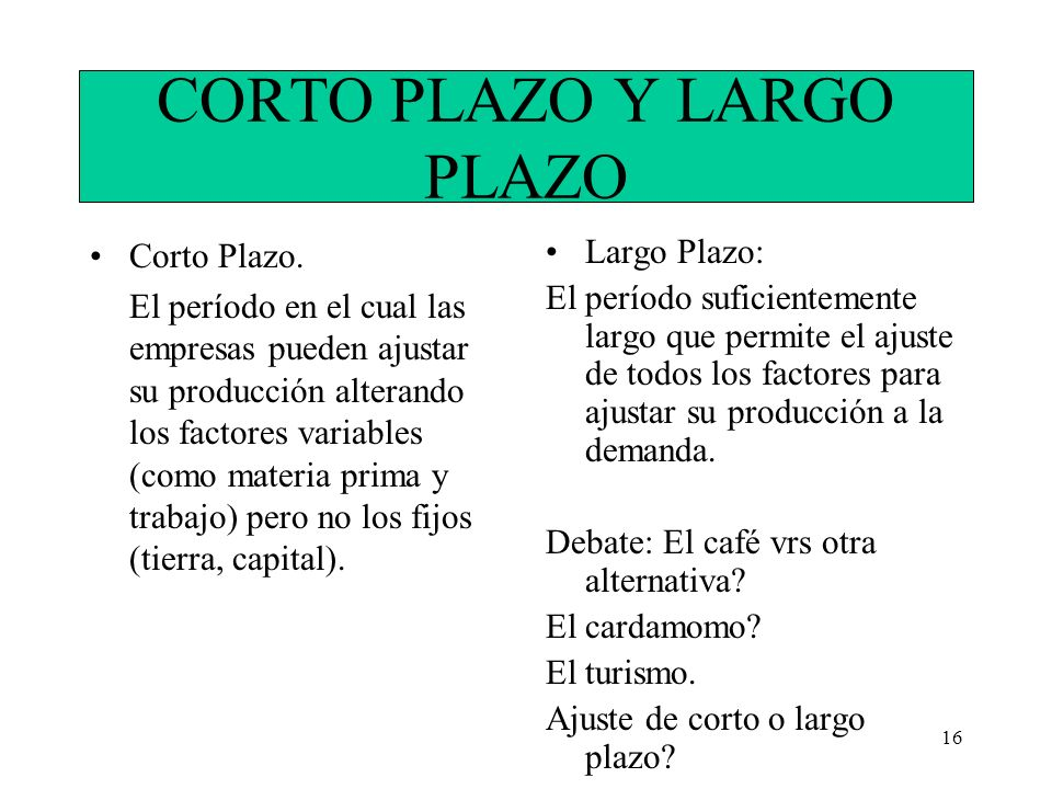 CORTO PLAZO Y LARGO PLAZO