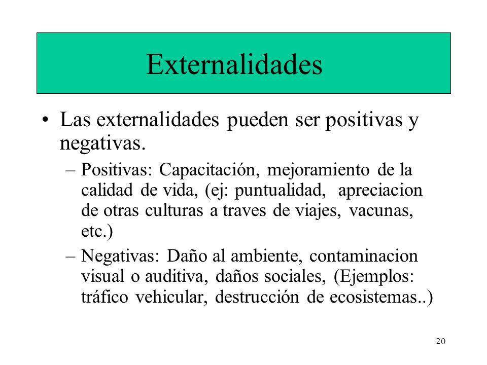 Externalidades Las externalidades pueden ser positivas y negativas.