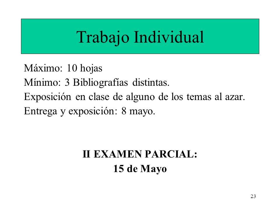 Trabajo Individual Máximo: 10 hojas Mínimo: 3 Bibliografías distintas.