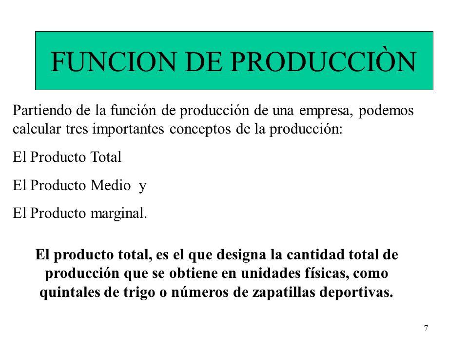 FUNCION DE PRODUCCIÒN Partiendo de la función de producción de una empresa, podemos calcular tres importantes conceptos de la producción: