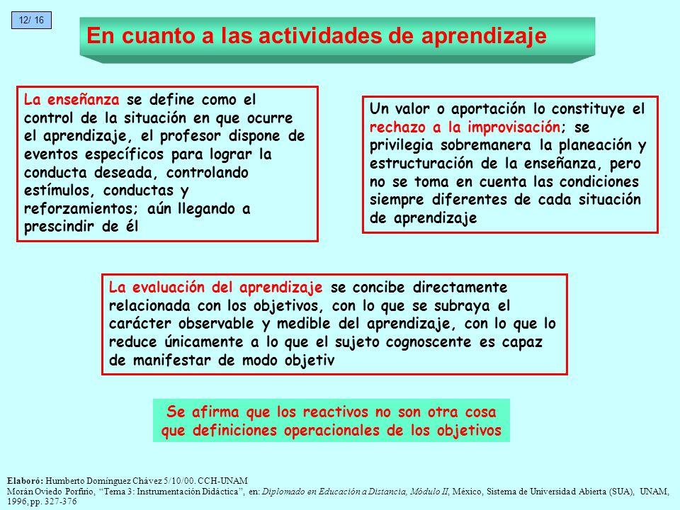 En cuanto a las actividades de aprendizaje