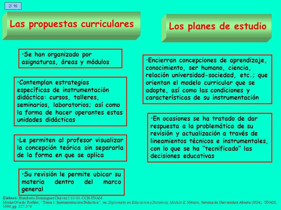 Las propuestas curriculares Los planes de estudio