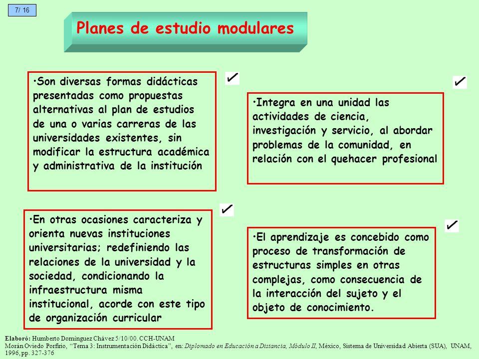 Planes de estudio modulares