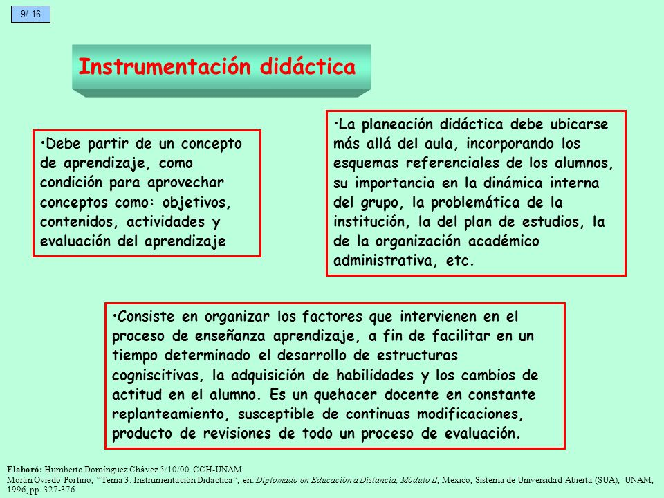 Instrumentación didáctica