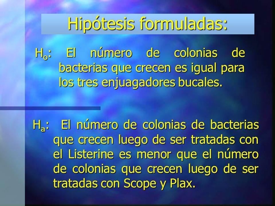 Hipótesis formuladas: