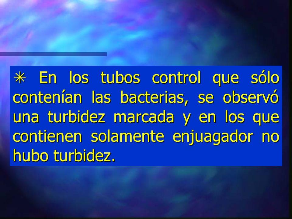  En los tubos control que sólo contenían las bacterias, se observó una turbidez marcada y en los que contienen solamente enjuagador no hubo turbidez.