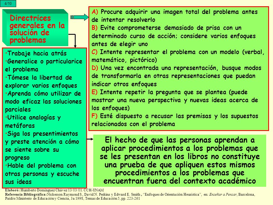 Directrices generales en la solución de problemas