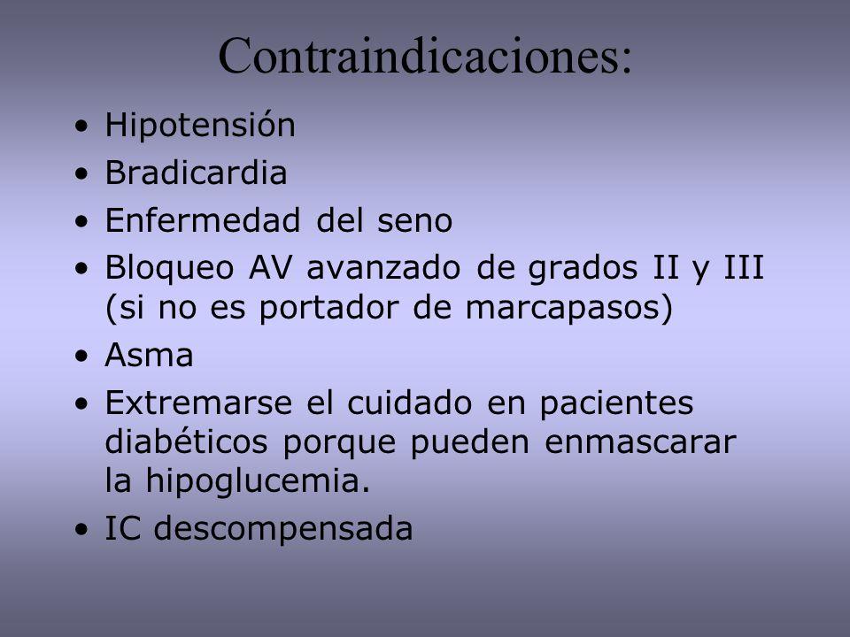 Contraindicaciones: Hipotensión Bradicardia Enfermedad del seno