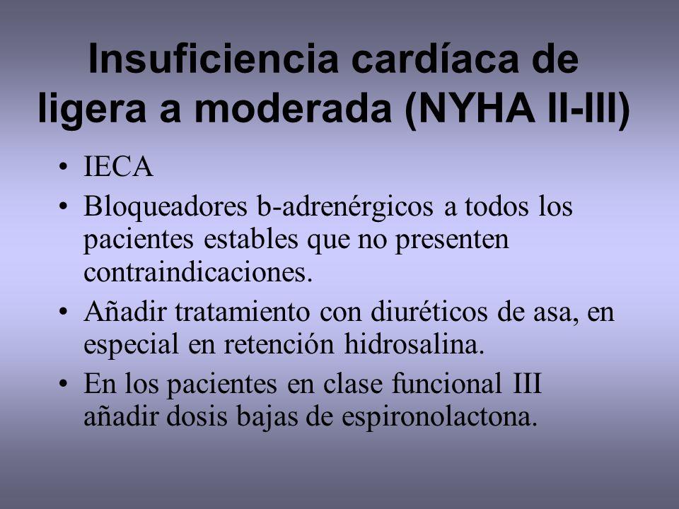 Insuficiencia cardíaca de ligera a moderada (NYHA II-III)